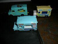 3 LOT RARE Majorette 1/67 GREEN Fourgon Ice Cream Truck #259 France  &  Matchbox