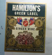VINTAGE AUST SPIRITS LABEL. HAMILTONS, GLENELG - GREEN LABEL GINGER WINE 1 PINT