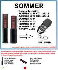 SOMMER 4026 TX03-868-2, 4020 TX03-868-4 Compatible remote control 868.35MHz.