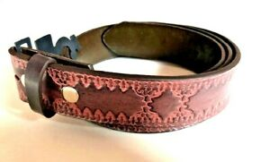 BELT - Embossed Design Cherry Faux Leather Snap On Belt Mens Womens - NO BUCKLE