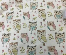 "Fryetts ""HOOT Sage "" Owls 100% Cotton Fabric for Curtain/ Upholstery/Crafts"