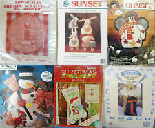 Lot of 6 Christmas Craft Kits New Vintage Stocking, Fabric, Felt, Quilt, Sewing
