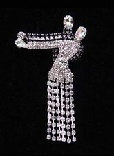 BALLROOM DANCERS Rhinestone Brooch/Pin-Movable dress-Silver plated-3 inches