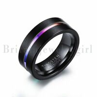 8MM Black Men's Tungsten Carbide Ring Color Stripe Engagement Wedding Band #7-12