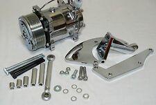 CHROME SANDEN 508 COMPRESSOR AND CHROME ALUMINUM BRACKET FOR SBC DRIVER SIDE