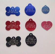 Custom Engraved Pet Id Tags for Dogs and Cats/Bone Shape, Round Shape and Heart