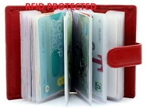 Genuine Red Leather Credit Card Holder Wallet -20 clear plastic pockets RFID UK