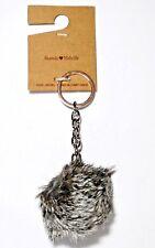 Brandy Melville Fur Ball/Pom Pom Keychain Gray/Salt & Pepper NWT