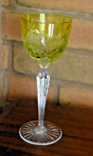 Green Cut to Clear Long Stem Cut Crystal Hock Glass / Goblet Unknown Maker