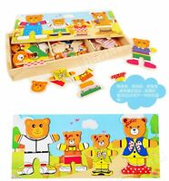 WoodenBear Changing Clothes Puzzle Set Children Kids Educational Toys GiftSafety