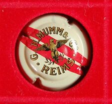 1 Plaque de muselet de champagne Mumm petit aigle ailes incurvée double bande