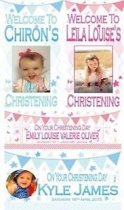 XL Personalised Christening Banner Photo Poster Decorations Boys Girls Pink Blue