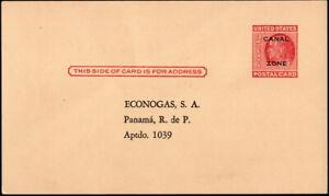 Canal Zone - 1952 - 2 Cents Carmine Franklin Postal Card # UX11 w Sylvania TV Ad
