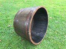 Used Solid oak wine Whiskey Half barrel planter Garden Patio Lawn Tub Flower Pot