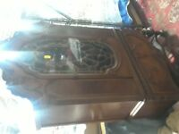 ANTIQUE DECO CARVED ROUND CHINA CABINET