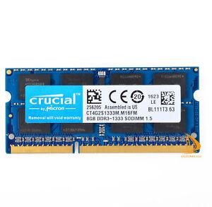 Crucial 8GB 2Rx8 PC3-10600S DDR3-1333Mhz SODIMM Laptop Memory RAM 1.5V 204Pin $6
