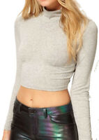 NEW WOMEN POLO ROLL NECK CROP TOP GIRLS LONG SLEEVE BLACK WHITE SHIRT SIZE 8-14