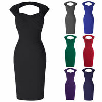 LADIES Vintage Pencil Party Wiggle Pin-up Housewife Cocktail Dress Size 4-18 new
