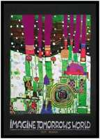 Hundertwasser Blue blues grüne Version Poster Kunstdruck im Alu Rahmen 84x59cm