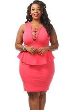 Sexy Plus Size Peplum Dress Crossed V Neck Sleeveless Sizes 18-28 | C123