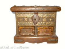 Vintage Style Wooden Box With Brass Fittings And Multi Compartments.G62-172