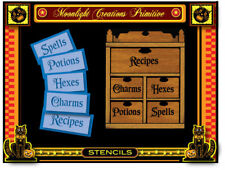 Stencil~5 HALLOWEEN TITLES~ Spells,Potions,Hexes, Charms, Recipes~ Vintage Style