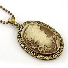 VTG Antique ST Brown Designer Cameo Necklace Pendant 9b
