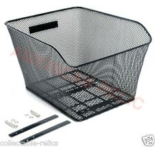 Wire Mesh Bicycle Basket Rear Black Carrier Bike Rack Style Large Fittings 8834
