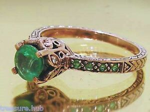R182 Genuine 9ct Rose Gold Natural EMERALD & Diamond Engagement Ring size N