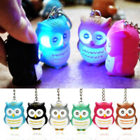 Fun Kids Toy Owl Keyring Luminous Voice Keychain LED Light Flashlight Key Chains