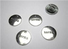5 silver plated round word karma charms for jewellery making, cards or crafts