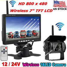 "12V-24V Wireless IR Waterproof Backup Rear View Camera +Wireless 7"" LCD Monitor"