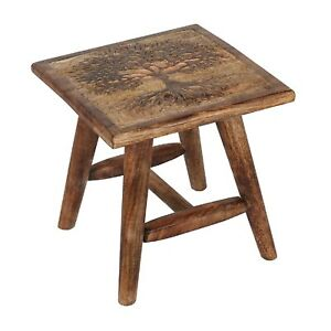 Tree of Life Design Square Wooden Hand Carved Stool Bench Chair Home Furniture