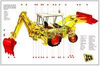 Vintage JCB 3CX MKIII Digger Backhoe Cutaway Tractor Poster Brochure RARE (A3)