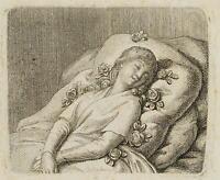 CHODOWIECKI (1726-1801). Die auf Rosen sanft schlummernde Unschuld; 1