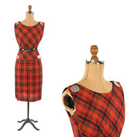 Vintage 50s Red + Black Plaid Sleeveless Hourglass Rockabilly Pinup Dress S
