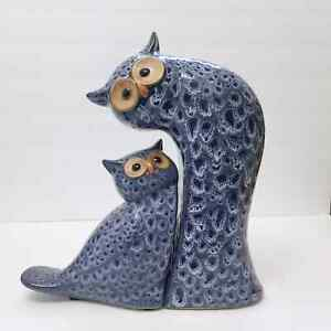Pair of Owl Bookends Blue Mother Baby