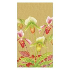 Caspari Paper Guest Towel Napkins, Slipper Orchid Gold, 2 Packs (16590G)