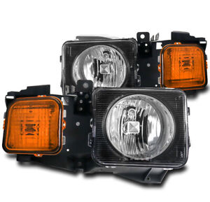 FOR 06-10 HUMMER H3/09+ H3T REPLACEMENT HEADLIGHT HEADLAMP LAMP BLACK CLEAR LENS