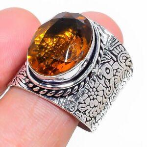 Honey Topaz Gemstone Handmade 925 Sterling Silver Jewelry Ring Size 9 D924