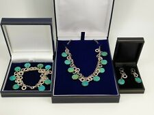 IBB Italy .925 Sterling Silver Turquoise Necklace Bracelet Earrings Set NICE1