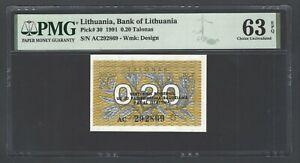 Lithuania 0.20 Talonas 1991 P30 Uncirculated Graded 63