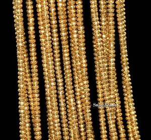 """3MM GOLD HEMATITE GEMSTONE GOLD FACETED RONDELLE 3X2MM LOOSE BEADS 15.5"""""""