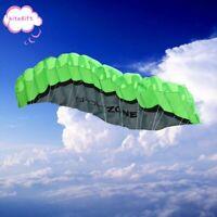 Huge 2.5m Outdoor Toy Dual Line Parafoil Parachute Stunt Sport Beach Kite Green