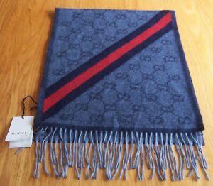 Gucci Midnight Blue Logo 75% Wool & 25% Alpaca Scarf/Wrap Italy New with Tags