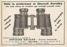 Z0576 Binocoli Koristka Officine Galileo - Pubblicità del 1930 - Advertising