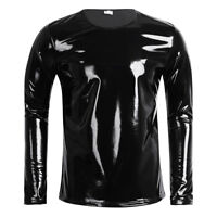 Neu Männer Top T-Shirt Wetlook Lackleder Clubwear Muskel Shirt Kostüm Weihnachen