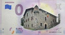 BILLET 0  EURO ANDORRA  COULEUR  ESPAGNE  2018 NUMERO DIVERS