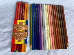 Vintage UNUSED Eagle Turquoise  Prismacolor Chemi-sealed colored pencils  x 30