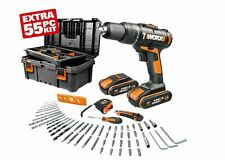WORX WX386.5 18V (20V MAX) Hammer Drill with x2 1.5Ah Batteries & 55pc Tool Kit
